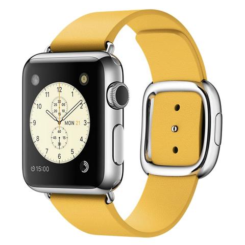 Ремешок Apple watch 38mm Modern Buckle Leather silver /yellow/