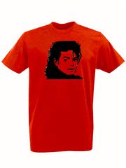Футболка с принтом Майкл Джексон (Michael Jackson) красная 002