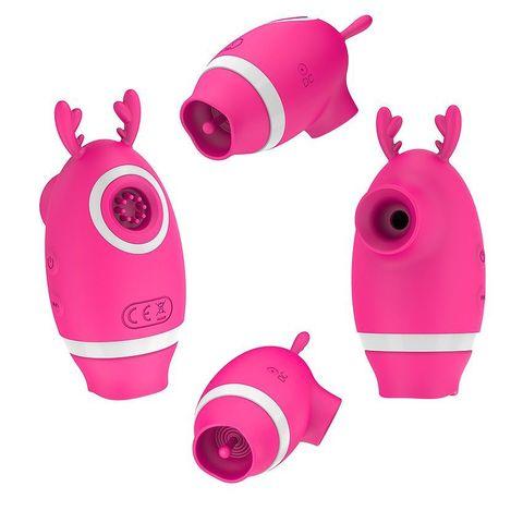 Розовый клиторальный вибромассажер с рожками