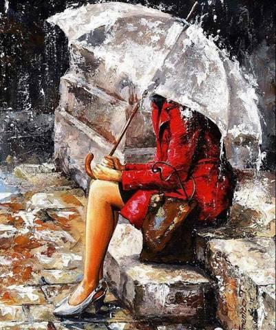 Алмазная Мозаика 30x40 Девушка с зонтом