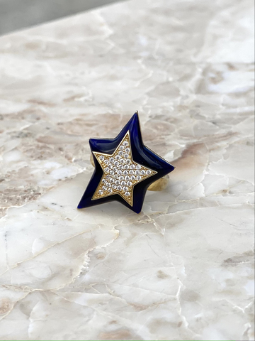 Star ring in gold plated silver with dark blue enamel