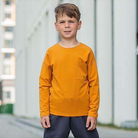 Basic long-sleeved T-shirt for teens - Amber Yellow
