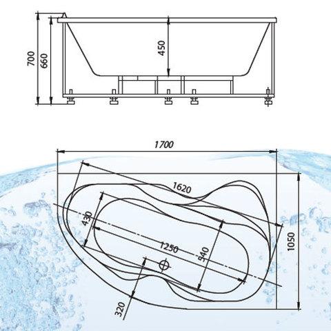 Ванна акриловая Aquatek Вега 170х105см. на каркасе и сливом-переливом  левая/правая схема