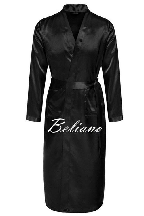 Мужской шелковый домашний халат черного цвета. Натуральный шелк. Длинный или короткий