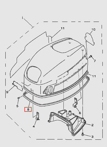 Уплотнитель капота резиновый  для лодочного мотора T40 Sea-PRO (1-8)