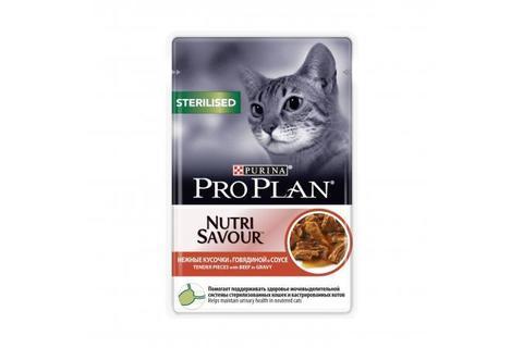 Консервы Purina Pro Plan для стерилизованных кошек и кастрированных котов, говядина в соусе,  85 г