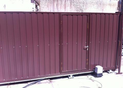 Откатные ворота с калиткой 3500х2000