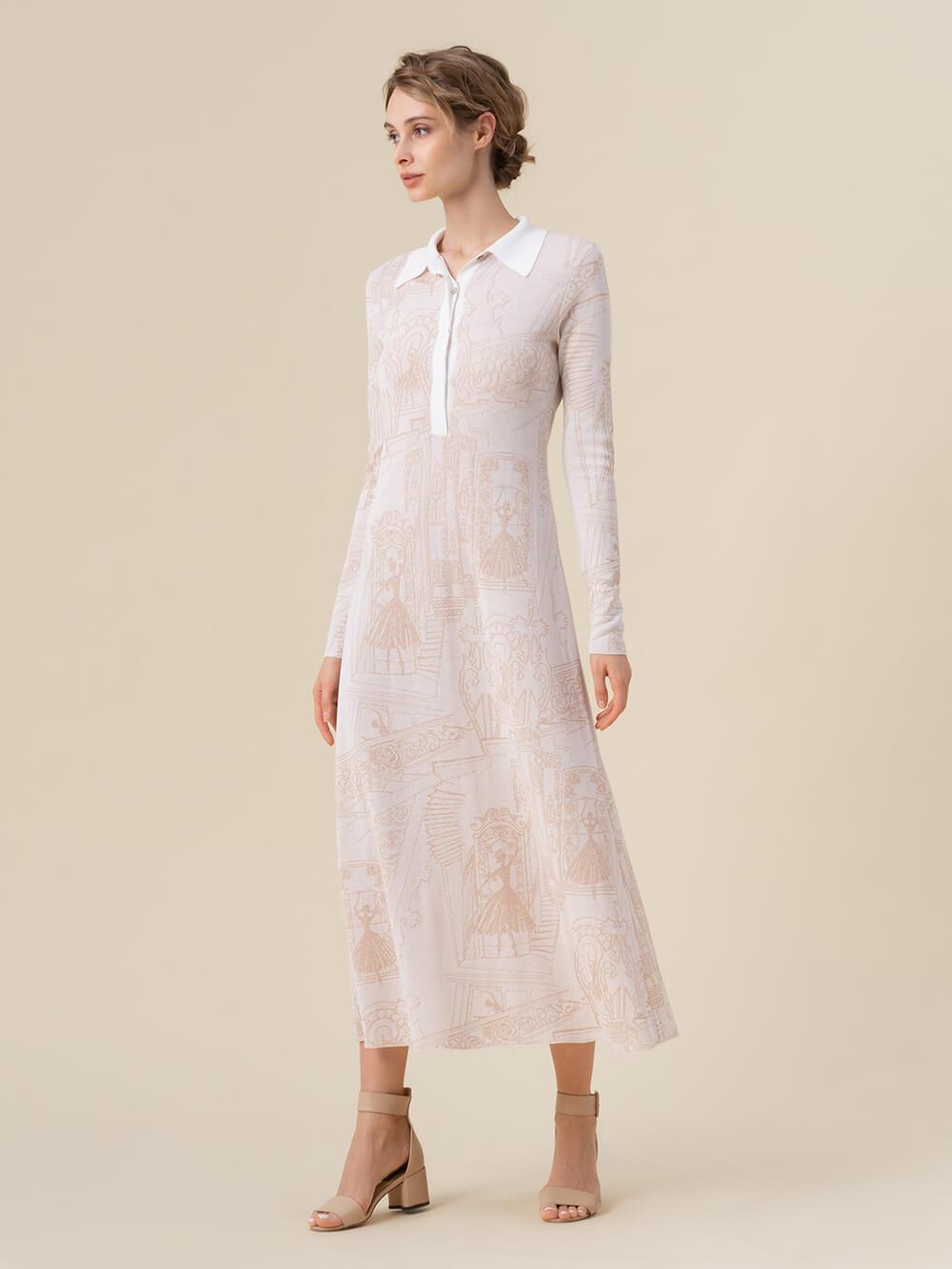 Женское платье молочного цвета из вискозы - фото 1