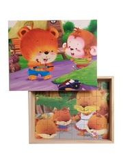 Развивающий пазл SHAPES PUZZLE Мультяшные пазлы-2 4 картинки 114 элементов в деревянной коробке