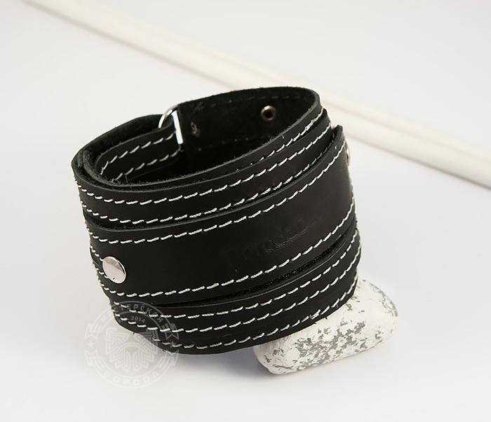 BL425-1 Мужской браслет напульсник из кожи, ручная работа, «Boroda Design» фото 02