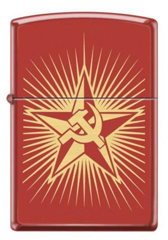Зажигалка Zippo Серп и Молот на Звезде, латунь/сталь с покрытием Red Matte, красная, 36x12x56 мм