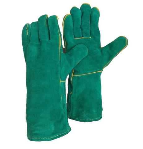 Краги спилковые зеленые с подкладкой