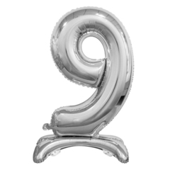 Цифра 9 Серебряная на подставке