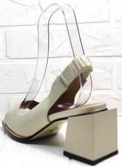 Удобные босоножки на невысоком каблуке женские Brocoli H150-9137-2234 Cream.
