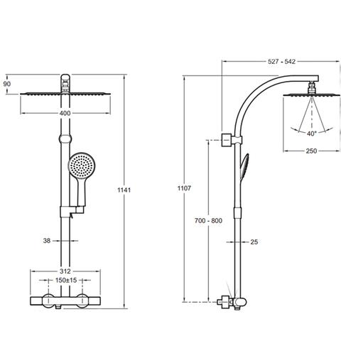 Душевая стойка с термостатом Jacob Delafon Talan Design