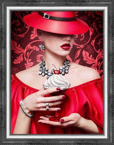 Алмазная Мозаика 40x50 Дама в красном с десертом (арт. 2PAV702)