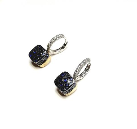 33370- Серьги Caramel из серебра в черном родаже с синими фианитами
