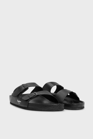 Мужские черные кожаные слайдеры BIO LIGHT BUCKLES Pepe Jeans