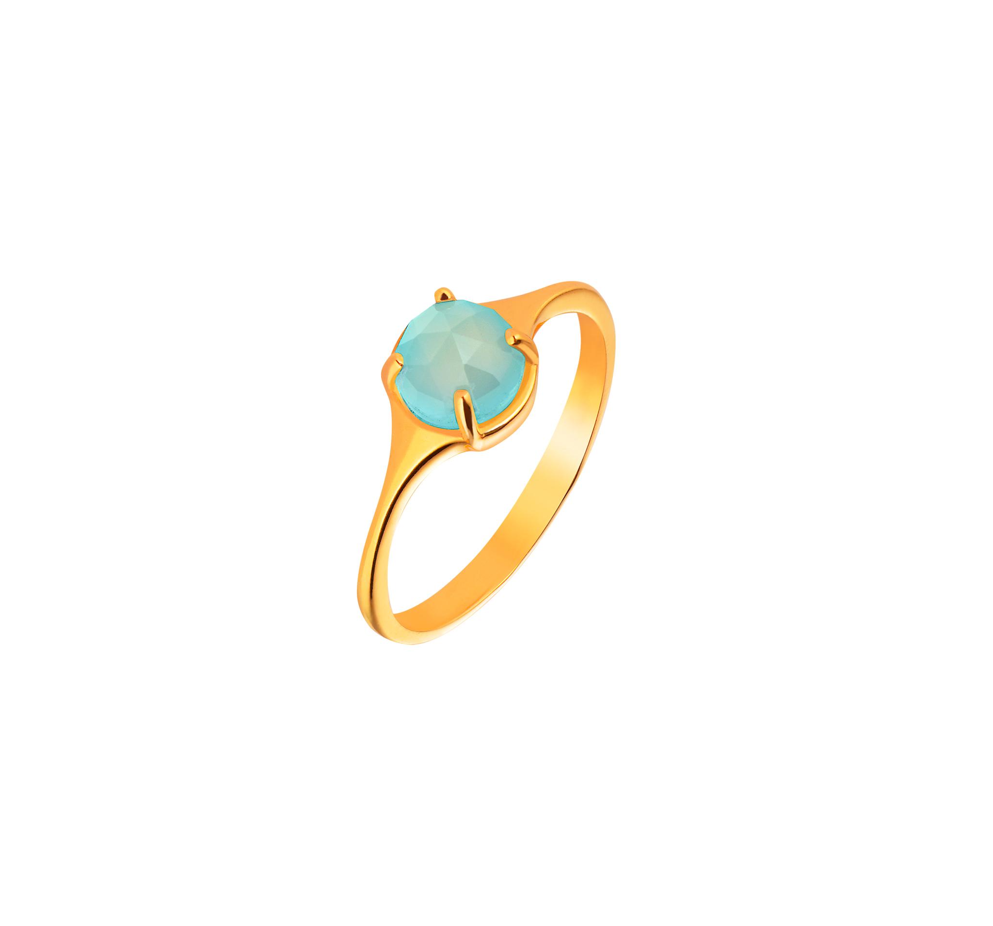 Кольцо с голубым халцедоном в позолоте
