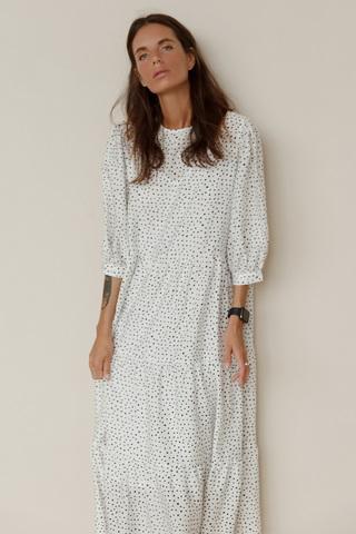Платье макси в горох, белый