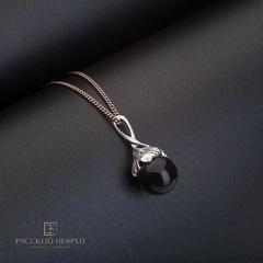 Подвес из черного нефрита Лист Гингко с серебром