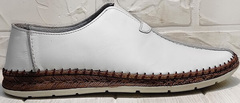 Летние слипоны эспадрильи кожаные business casual стиль Luciano Bellini 91724-S-304 All White.