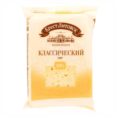 Сыр БРЕСТ-ЛИТОВСК Классический 45% 200 г БЕЛАРУСЬ