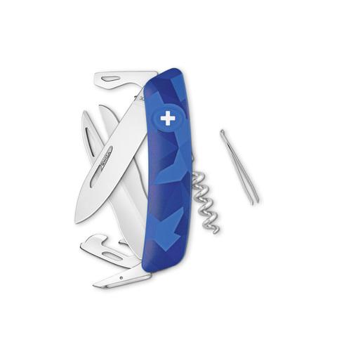 Швейцарский нож SWIZA D07 Camouflage, 95 мм, 12 функций, камо синий