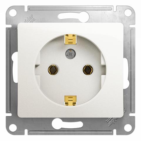 Розетка с заземлением, 16А. Цвет Перламутр. Schneider Electric Glossa. GSL000643
