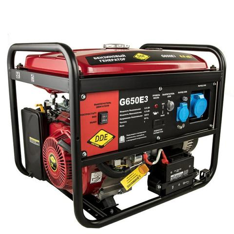 Генератор бензиновый DDE G650E3 (1+3ф 6,0/6,5 кВт бак 25 л 89 кг дв-ль 14 л.с. элстарт) (917-446)