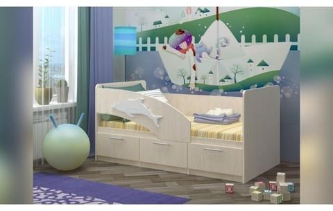 Детская кровать Дельфин-5 ЛДСП дуб белфорт, 80х160