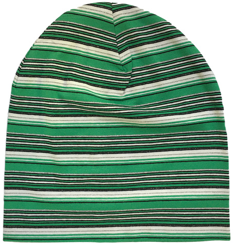 Зеленая полосатая шапочка-бини из трикотажа