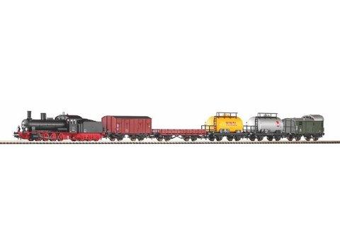 PIKO57123 Стартовый набор грузовой поезд с паровозом G7.1, рельсы на подложке