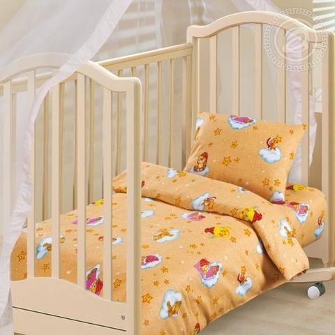 Детское постельное бельё Облачко (жёлтое) БЯЗЬ ЯСЕЛЬНАЯ