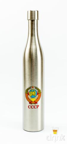 Фляга бутылка «СССР», в чёрном кожанном чехле, 800 мл