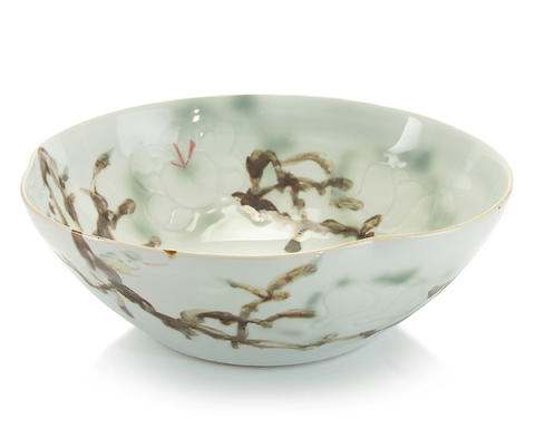 Curled-Rim Bowl in Greens and Yellows