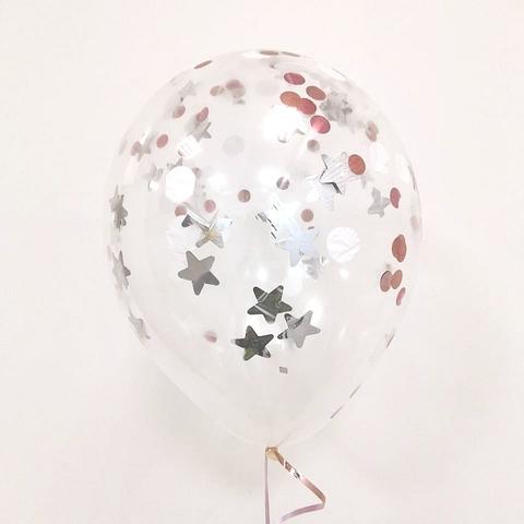 Латексный воздушный шар, с конфетти серебро/роз.золото/белый