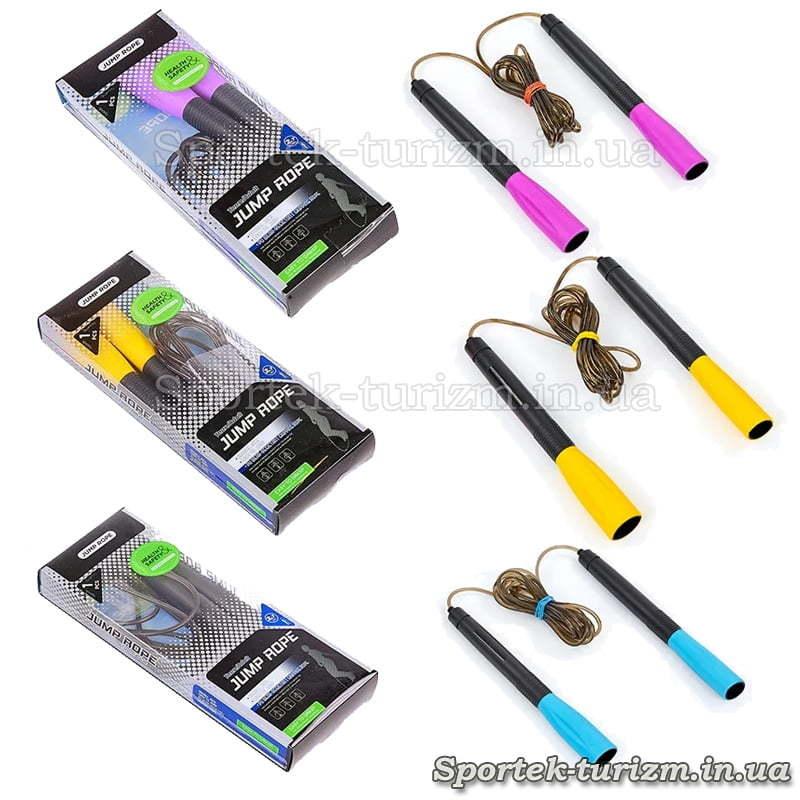 Варіанти кольорів скакалки з пластиковим шнуром 2,6 м (FI-8295)