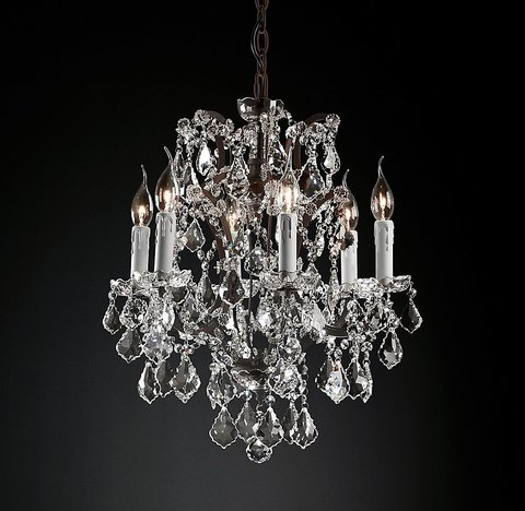 Подвесной светильник копия 19th C. Rococo Iron & Clear Crystal Round Chandelier 18