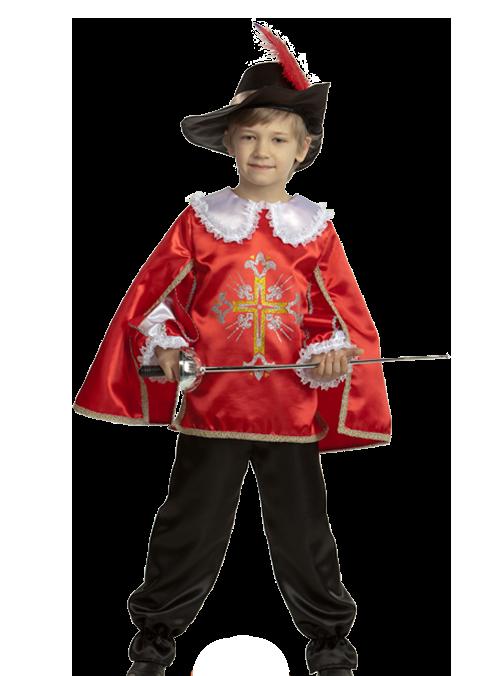 Карнавальный костюм Мушкетер красный атласный