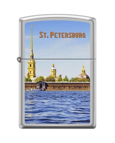 Зажигалка ZIPPO Classic Satin Chrome™ Изображение Петропавловской крепости ZP-205 PETER PAUL