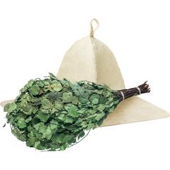 Подарочный Банный набор (веник, коврик для бани и сауны, шапка)