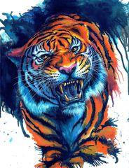 Картина раскраска по номерам 40x50 Устрашающий тигр