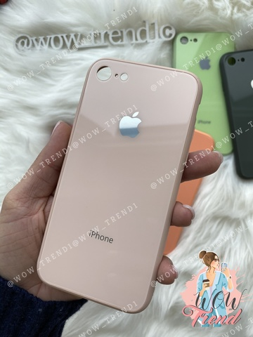 Чехол iPhone 7/8 Glass Pastel color Logo /pink sand/