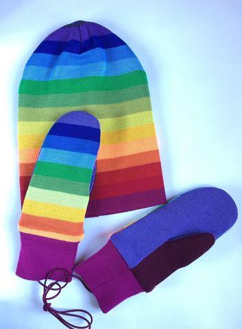 Комплект Радуга - шапочки бини и варежки
