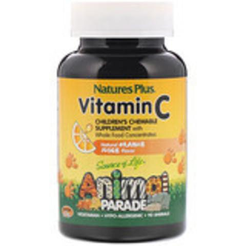 Витамин C, жевательная добавка для детей, вкус натурального Nature's Plus, Source of Life, Animal Parade