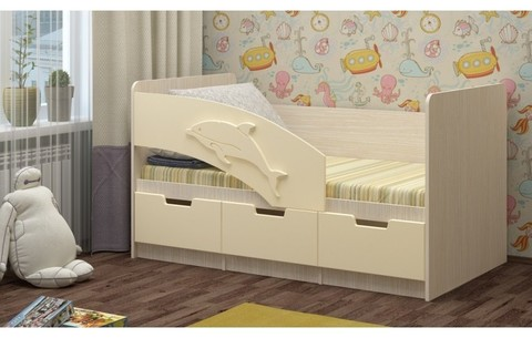 Детская кровать Дельфин-6 МДФ, 80х160, ваниль / белфорт