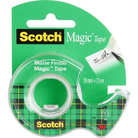 Скотч клейкая лента канцелярская Scotch Magic прозрачная 19 мм х 7.5 м