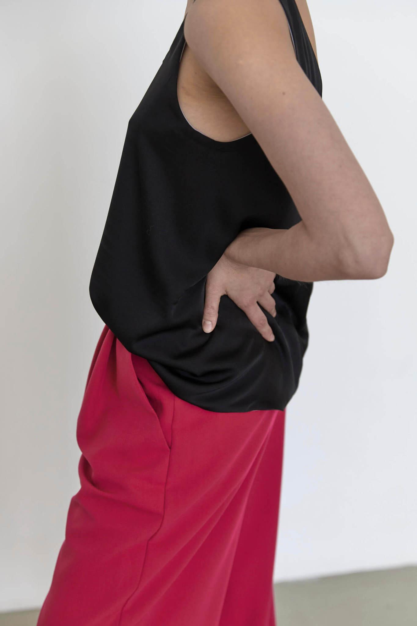 Топ-майка без боковых швов двусторонний, черный/жемчужно-серый