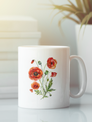 Кружка с изображением Цветы (Маки) белая 005